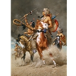 ~ Change in the Wind - Crow war party by western artist Frank McCarthy