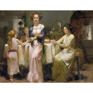 The Gathering - family supper by Mediterranean artist Pino