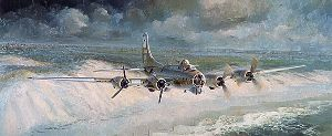 Little Willie Coming Home - B-17 with two engines out by aviation artist Keith Ferris