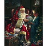 One Christmas Eve - Girl and Santa Claus by fantasy artist Dean Morrissey