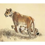 Lioness and Cubs by wildlife artist Ron Parker
