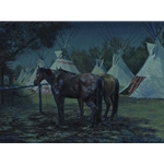 Relay Horses in Camp, Crow Fair 2000...by artist Bob Coronato