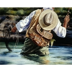 Small River Big Fish - hip deep trout fisherman by Nelson Boren