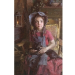 Confidante - young girl with her black cat by artist Morgan Weistling