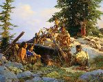 Camp at Cougar's Den by Howard Terpning