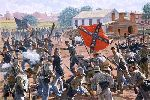Bedlam In The Brickyard - Battle of Gettysburg by military artist Bradley Schmehl
