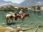 Emerald Oasis - Cowboy crossing river by western cowboy artist Bill Anton