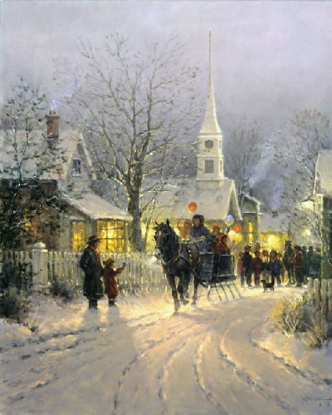 Painting Church In Snow Religious Christmas Ceramic: Country Christmas By Artist G