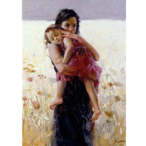 Maternal Instincts - mother holding sleeping child by Mediterranean artist Pino
