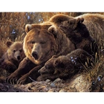 Close to Mom - Grizzly bear and Cubs by wildlife artist Carl Brenders