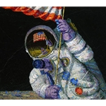 Red, White and Blue - Planting USA flag on the Moon by astronaut artist Alan Bean