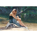 Listening to the River - woman sitting on bank by figurative artist Steve Hanks