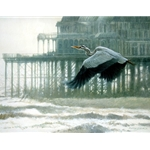 Misty Morning - Heron by wildlife artist Matthew Hillier