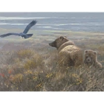 Denali Encounter Grizzly Cub and Raven by wildlife artist John Seerey-Lester