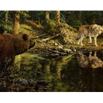 Evening Encounter - Grizzly and Wolf by wildlife artist John Seere-Lester