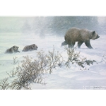 Keeping Pace - Grizzly With Cubs by artist John Seerey-Lester