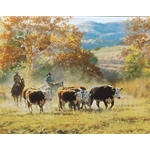 Off the Mountain in October by cowboy artist Tim Cox