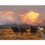 Twilight - horses by western artist Tim Cox