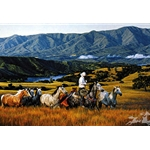 Running With the Mares by cowboy artist Tim Cox