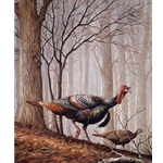 Upland Series II Wild Turkeys and Red Bud by Iowa artist Maynard Reece