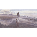 Finding Yourself in the World - pensive woman on beach by figure artist Steve Hanks