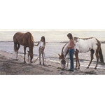 Connections - girls with horses on beach by artist Steve Hanks