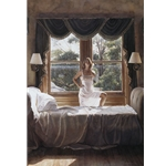 Savoring the Sun - woman in window by figure artist Steve Hanks