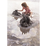 Castles in the Sand - girl playing on beach by artist Steve Hanks