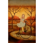 One if by Land girl cycling by portrait artist Emily McPhie