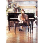 Duet - girl and her cat at the piano by artist Steve Hanks