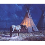 Night Glow- horse resting by tipi by western artist Martin Grelle