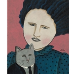 Together - woman and cat by Sandy Mastroni