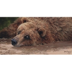 The Joy of Mud - Grizzly by wildlife portrait artist Bonnie Marris