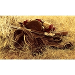 1880s Still Life of Saddle and Rifle by James Bama