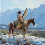 Valley Guardian - Lone Indian on horseback by western artist Martin Grelle