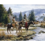 Morning Vigil - Indian camp guards by western artist Martin Grelle