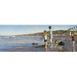 Children on La Jolla Shores - at the beach by family artist Steve Hanks