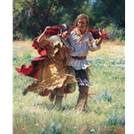 Newlyweds - Indian woman and mountain man by artist Martin Grelle