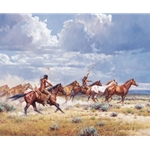 Running with the Elk-Dogs by western artist Martin Grelle