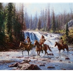 Crows in the Yellowstone - Indians crossing Lewis Falls by Martin Grelle