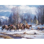 Camp Meat and Mules by western artist Martin Grelle