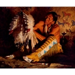 Red Feathers - Plains warrior by artist David Mann