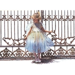 Hold Onto the Gate - little angel girl by figurative artist Steve Hanks