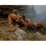 Grizzly Mountain - bear attacks pack horse by artist Andy Thomas