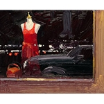 Red Dress in the Window by Ken Auster