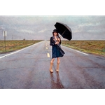 The Road Less Traveled - woman on highway in flat midwest by artist Steve Hanks
