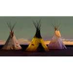 Tribal Tripartite - prairie tepees by western artist R. Tom Gilleron