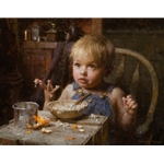 Bowl of Oats - child at breakfast by family artist Morgan Weistling