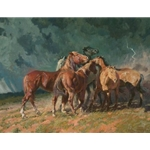 Storm on the Plains - horses gathering as thunderstorm approaches by Bruce Greene