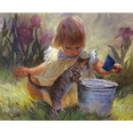 Gardener's Helper - child, tulips & kitten by artist Susan Blackwood